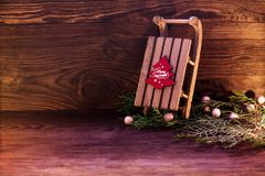 Sled  and Christmas decor Royalty Free Stock Photos