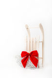 Sled and christmas decoration Royalty Free Stock Image