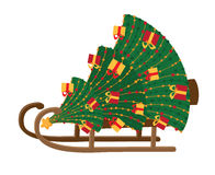 Sled with Christmas tree Royalty Free Stock Photos