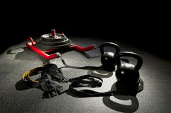Sled color kettle bells Stock Images