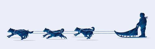 Sled Dogs graphic vector. Sled Dogs side view graphic vector stock illustration