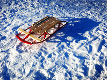 Sled in fresh snow tracks fun fast Stock Images