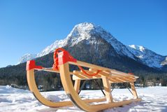 Sled in front of mountain Stock Photography