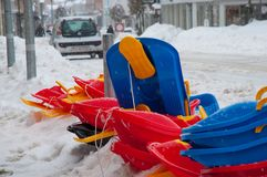 Sled in front a toy store. In Denmark Royalty Free Stock Images