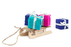 Sled with gifts and Christmas tree. Stock Image