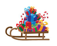 Sled with gifts Stock Photography