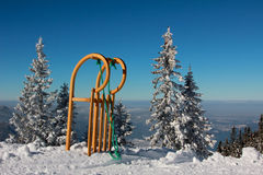 Sled with long horn shaped runners in winter landscape Royalty Free Stock Photos