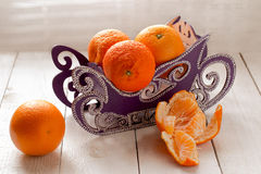 Sled with oranges Royalty Free Stock Image