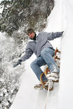 Sled race. Young people have fun in the winter Stock Photo