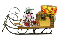 Sled with santa claus and presents Royalty Free Stock Image