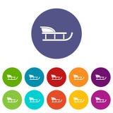Sled set icons Stock Image