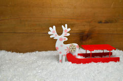 Sled Snow Christmas wooden background Stock Image