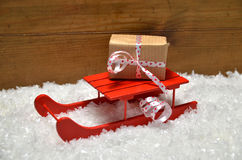 Sled Snow Christmas wooden background Stock Images
