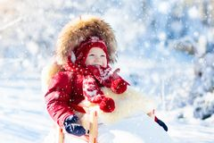 Sled and snow fun for kids. Baby sledding in winter park. Sled and snow fun for kids. Baby sledding in snowy winter park. Little boy in warm red jacket and royalty free stock image