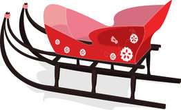 A sled to go for a drive. Sled, to go, drive, the hill, mountain, winter, an entertainment, a snow, beautiful, red, to roll, down, slide, children, is cheerful Royalty Free Stock Photography