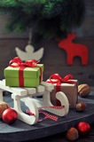 Sled toy with gift boxes Stock Photos
