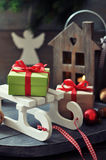 Sled toy with gift boxes Stock Image