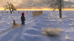 Sled Walk D. Illustration of a cute small boy pulling his sled and stuffed monkey out into snowy fields at sunset Royalty Free Stock Photography