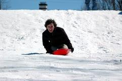 sledding έφηβος Στοκ εικόνες με δικαίωμα ελεύθερης χρήσης