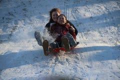 Sledding στο Central Park Στοκ Εικόνες