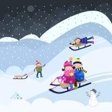 Sledding зимы Стоковая Фотография