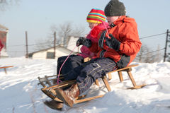 Sledding Stockfotos