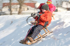sledding Royaltyfri Fotografi