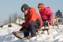 Sledding. Children sledding Royalty Free Stock Photos