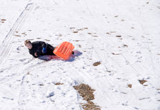 Sledding Accident Royalty Free Stock Photos
