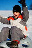 Sledding boy Royalty Free Stock Photography