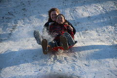 Sledding in Central Park Stock Images