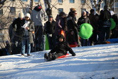 Sledding in Central Park Royalty Free Stock Photos