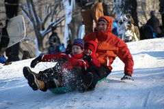 Sledding in Central Park Stock Photography