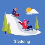 Sledding children design flat style Royalty Free Stock Image
