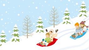 Sledding Children in winter slope Stock Photo