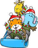 Sledding Christmas Animals Vector Stock Photos