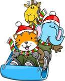 Sledding Christmas Animals Vector. Cute Sledding Christmas Animals Vector Stock Photos