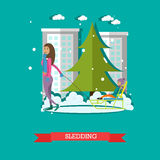 Sledding concept vector illustration in flat style Stock Photography