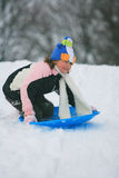 sledding da criança  Imagens de Stock