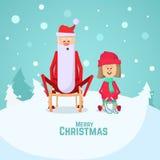 Sledding della bambina e di Santa Claus Illustrazione piana di vettore Fotografie Stock Libere da Diritti