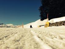 Sledding dichtbij Andermatt, Zwitserland Royalty-vrije Stock Foto's