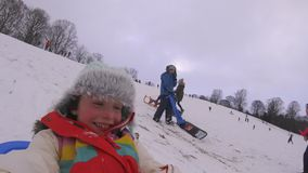 Sledding Down the Hill with Action Cam stock video