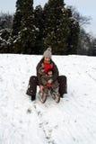 sledding dziecko mama Obrazy Stock