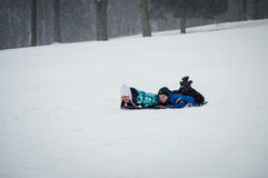 Sledding Fun Stock Images