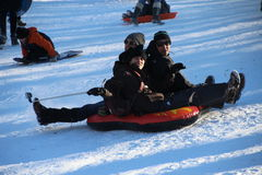 Sledding i Central Park Royaltyfri Bild