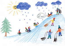Sledding kids on the hill - children painting Stock Photography