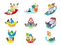 Sledding kids set  Stock Image