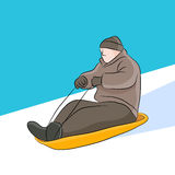 Sledding Man Stock Images