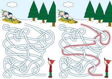 Sledding maze. For kids with a solution Stock Photography