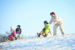 Sledding in nature Royalty Free Stock Images